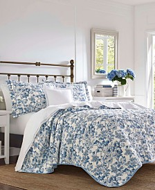 Laura Ashley Aimee Delft Quilt Set, Full/Queen