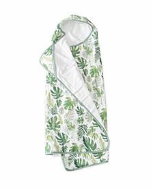 Tropical Leaf Cotton Muslin Big Kid Hooded Towel