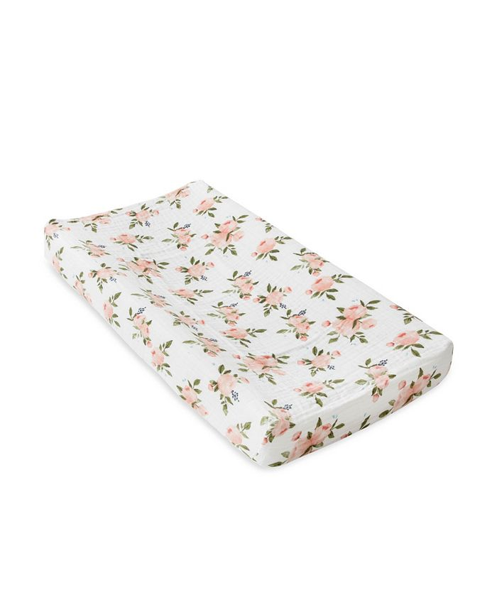 Little Unicorn - Watercolor Roses Cotton Muslin Changing Pad Cover