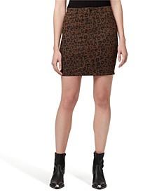 Denim Sia Leopard Printed Jean Skirt