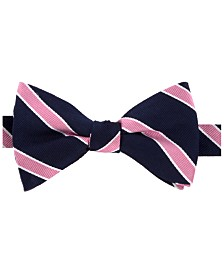 Tommy Hilfiger Men's Preppy Stripe Pre-Tied Silk Bow Tie & Outlined Silk Pocket Square Set