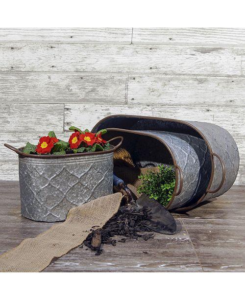 VIP Home & Garden 3-Piece Galvanized Metal Buckets
