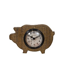 VIP Home & Garden Wood Pig Magnet Clock
