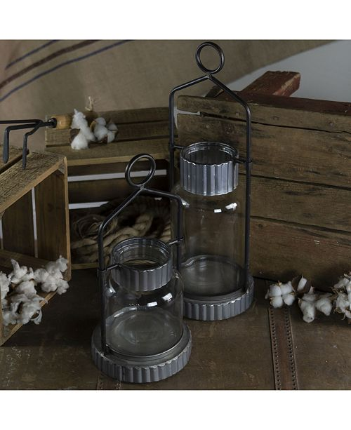 VIP Home & Garden 2-Piece Metal and Glass Holders