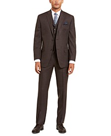 Men's Classic-Fit Stretch Brown Neat Suit Separates