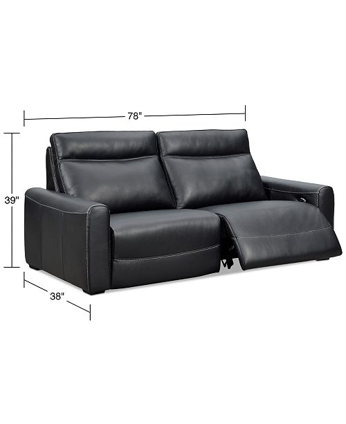 Marzia 78 Leather Sofa with 2 Power Recliners, Created for Macy\'s