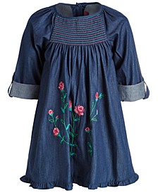Little Girls Cotton Embroidered Denim Dress