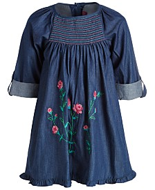 Good Lad Toddler Girls Cotton Embroidered Denim Dress