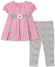 Baby Girls 2-Pc. Contrast Pleated Tunic & Printed Leggings Set