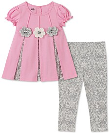 Kids Headquarters Baby Girls 2-Pc. Contrast Pleated Tunic & Printed Leggings Set