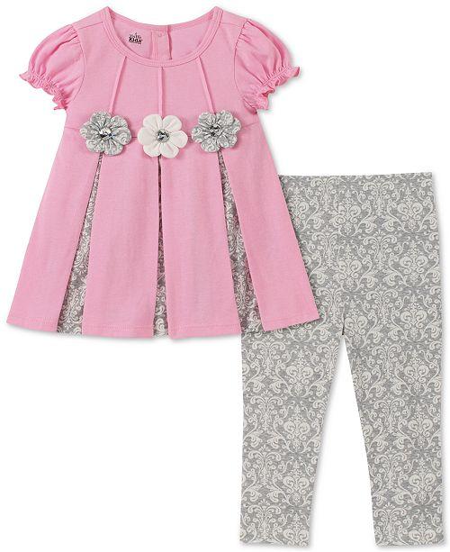 Kids Headquarters Baby Girls 2-Pc. Contrast Pleated Tunic & Printed Leggings Set