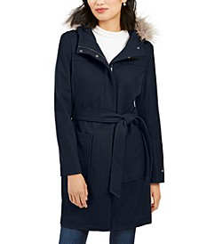 Belted Faux-Fur-Trim Hooded Coat