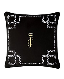 "Juicy Couture Lattice Embroidered Velvet 20"" x 20"" Throw Pillow"
