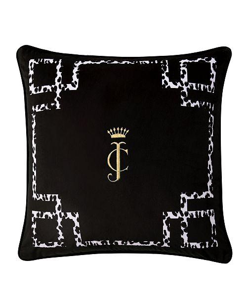 "Juicy Couture Lattice Embroidered Velvet 20"" x 20"" Throw Pillow"