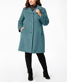 Anne Klein Plus Size Single-Breasted Wool Coat, Created for Macy's