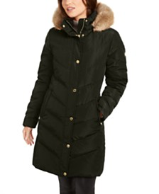 Michael Michael Kors Chevron Faux-Fur Trim Hooded Down Puffer Coat