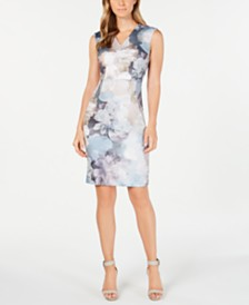 Calvin Klein Soft Floral-Print Sheath Dress