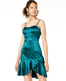 Juniors' Satin Ruffle Dress