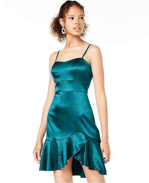 Teeze Me Juniors' Satin Ruffle Dress