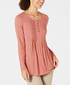 Style & Co Petite Pintuck Top, Created For Macy's