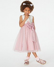 Little Girls Satin-Bow Fit & Flare Dress