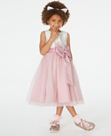 Rare Editions Toddler Girls Satin-Bow Fit & Flare Dress