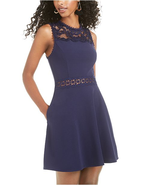 Speechless Juniors' Lace-Top Fit & Flare Dress