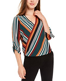 Juniors' Striped High-Low Surplice Top