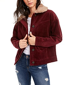 Juniors' Faux-Sherpa Trimmed Corduroy Jacket, Created for Macy's