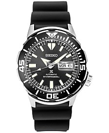 Seiko Men's Automatic Prospex Diver Black Silicone Strap Watch 42.4mm