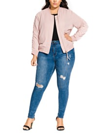 City Chic Trendy Plus Size Luxe Bomber Jacket