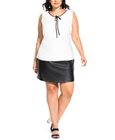 City Chic Trendy Plus Size Pleated Tie Top