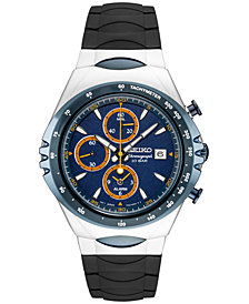 LIMITED EDITION Seiko Chronograph Macchina Sportiva Black Silicone Strap Watch 43mm, Created for Macy's