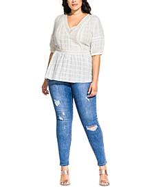 Trendy Plus Size Lace Neck Top