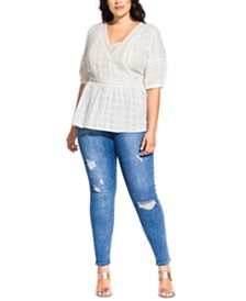 City Chic Trendy Plus Size Lace Neck Top