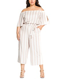 City Chic Trendy Plus Size Free Stripe Jumpsuit