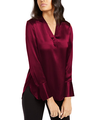 Blaze Silk V Neck Blouse by General