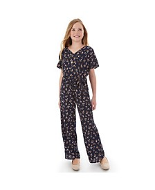 BCX Big Girls Floral-Print Kimono Jumpsuit With Necklace