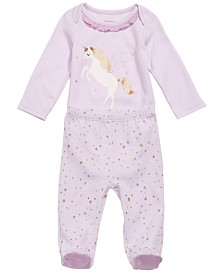 First Impressions Baby Girls 2-Pc. Cotton Unicorn Bodysuit & Footed Pants Set, Created for Macy's