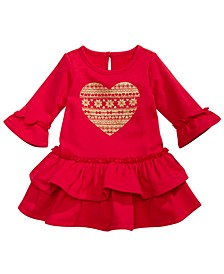 Baby Girls Sparkle Heart Ruffled Terry Dress, Created For Macy's