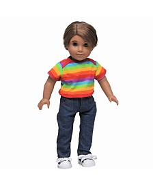 The Queen's Treasures American Denim Jeans and Rainbow Shirt Clothing Outfit