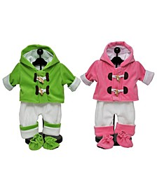 """Set of Two Complete Bitty 15"""" Baby Doll Twin Overall Outfits"""