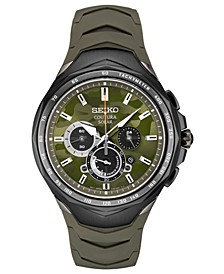 Men's Solar Chronograph Coutura Green Silicone Bracelet Watch 45.5mm