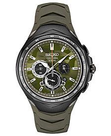 Seiko Men's Solar Chronograph Coutura Green Silicone Bracelet Watch 45.5mm