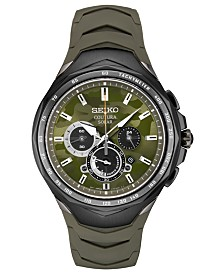 Seiko Men's Solar Chronograph Coutura Green Silicone Bracelet Watch 45.5mm
