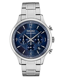 Seiko Men's Chronograph Essentials Slim Stainless Steel Bracelet Watch 43.3mm