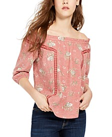 Juniors' Floral Off the Shoulder Peasant Top