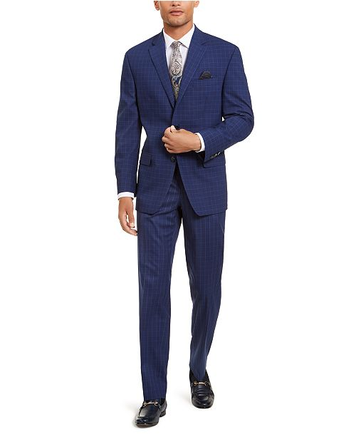 Sean John Men's Classic-Fit Stretch Blue Houndstooth Windowpane Suit Separates