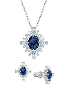 "Silver-Tone Crystal Cluster Pendant Necklace & Stud Earrings Set, 14-7/8"" + 1/2"" extender"