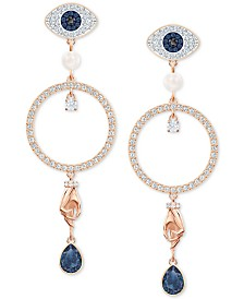 Swarovski Rose Gold-Tone Crystal Evil-Eye, Hoop & Hand Drop Earrings